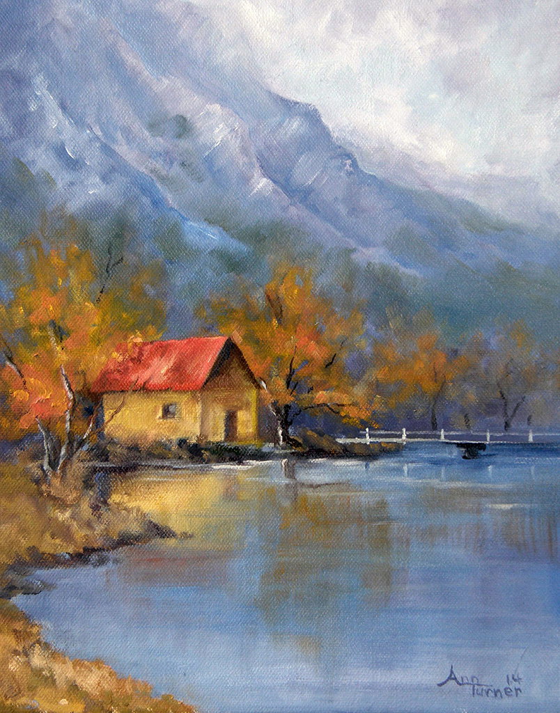 Painting of Autumn Boathouse