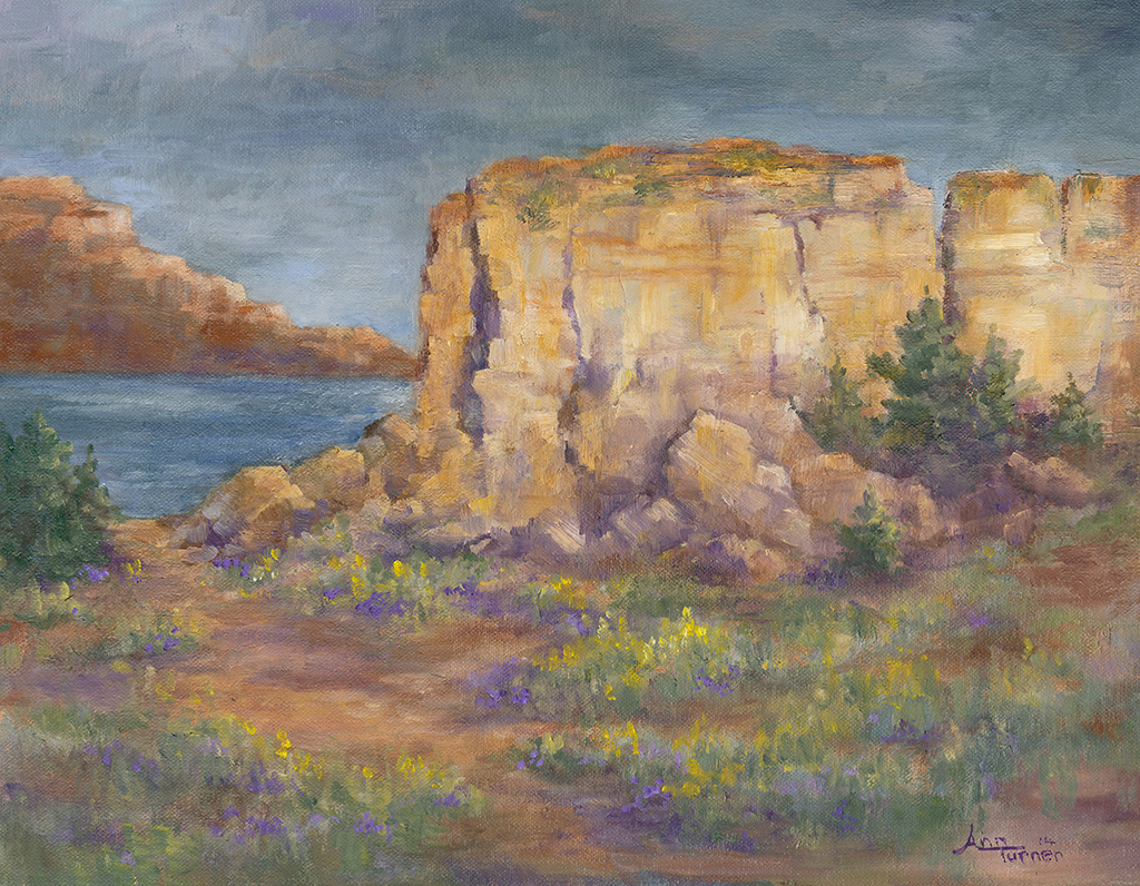 Painting of Sunlit Cliffs